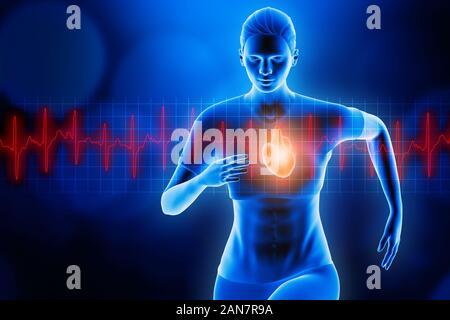 Vorderansicht einer Sportlerin, die mit glühenden Herzen und roten Herzschlag EKG-Kurve. Blau Hologramm futuristische 3D Rendering Illustration. Sport, Gesundheit,