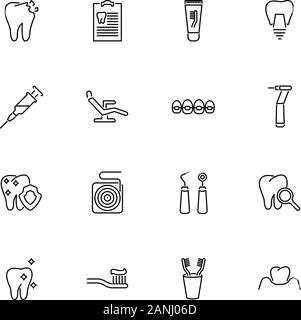 Zahnklinik, Zahnarzt Umrisse Icons Set - schwarzes Symbol auf weißem Hintergrund. Zahnklinik, Zahnarzt einfache Illustration Symbol gesäumten Einfachheit Zeichen - Stockfoto