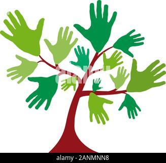 Vektor Zeichen Grüner Baum mit Händen - Stockfoto