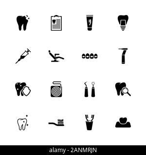 Zahnmedizinische Symbole - Erweitern zu jeder Größe - Änderung einer beliebigen Farbe. Flache Vector Icons - Schwarz Abbildung auf weißen Hintergrund. - Stockfoto