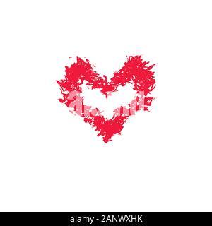Grunge Schablone Rahmen gotischen Herzen. Tupfen Sie die lackierten Rahmen Herz, Tinte splatter Textur und Schablonen Grenze. Isolierte Illustration - Vector Illustration