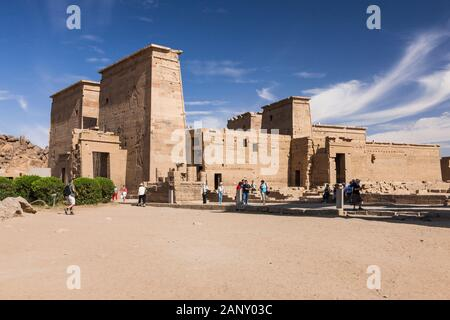 Tempel von Isis Philae, auch Philae-Tempel, Insel Agilkia im Nassersee, Assuan, Ägypten, Nordafrika, Afrika - Stockfoto