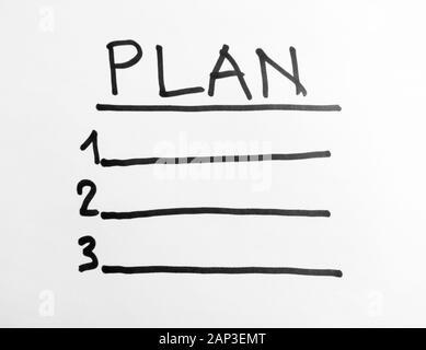 Hand Worte - planen - mit schwarzem Marker auf weißem Papier - Stockfoto