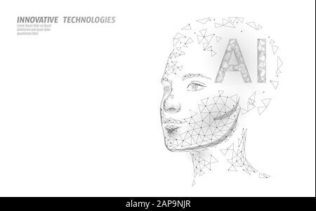 KI Artificial Intelligence Roboter unterstützen 3D. Technologie für Spracherkennungsdienste für virtuelle Assistenten. Chatbot schöne weibliche Gesicht niedrige Poly Vektor - Stockfoto