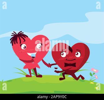Zwei glückliche Herzen, Kartenvalentine Tag Vektor-Illustration-Design - Stockfoto