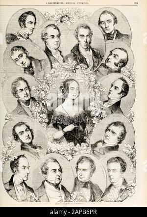 Sir Robert Peel Kabinettsmitglieder in der britischen Regierung im Jahr 1844, Gravur, 1844 - Stockfoto
