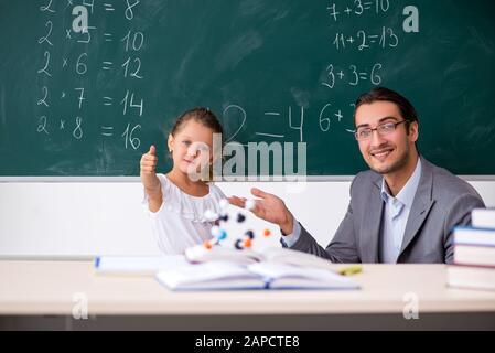 Der Lehrer mit den jungen Mädchen im Klassenzimmer - Stockfoto