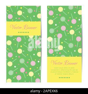 Vertikale Vektor-Banner, Karten mit Lollipops - Stockfoto
