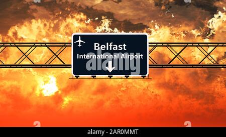 Belfast Northern Ireland Airport Highway Melden Sie sich in einer 3D-Illustration von Sunset Sunrise an - Stockfoto