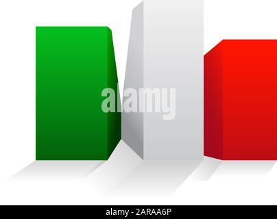 Vektor-Zeichen italienischer Bau, Boxen und Gebäude - Stockfoto