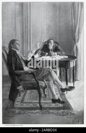 Benjamin Franklin und Richard Oswald diskutieren über den Friedensvertrag Paris Während Des amerikanischen Unabhängigkeitskrieges Datum: 1783 - Stockfoto