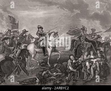 König James II. In der Schlacht am Boyne, 1690 - Stockfoto