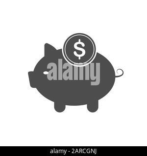 """Symbol """"Vector Piggy Bank"""". Die flache Silhouette ist auf einem weißen Hintergrund für Websites, Apps und Design isoliert. - Stockfoto"""