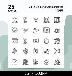 25 3D-Symbol für Druck Und Kommunikation. 100 % bearbeitbare EPS 10-Dateien. Business Logo Konzept Ideas Line Icon Design - Stockfoto