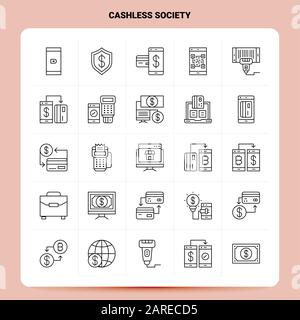 Outline 25 - Symbolsatz Für Die Bargeldlose Gesellschaft. Vektorliniendesign Schwarze Symbole Gesetzt. Lineares Piktogramm. Web und Mobile Business Ideas Design Vector Ill - Stockfoto