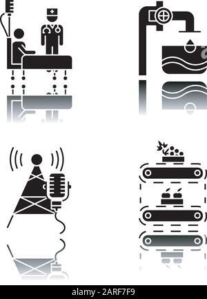 Branchentypen Schlagschatten schwarze Glyphe Symbole gesetzt. Gesundheitswesen. Wasserversorgung. Rundfunk, Telekommunikation. Obstversorgung. Klinik, medizinisch he - Stockfoto