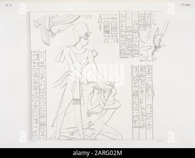 Kämpfe und Eroberung Ramses II. Über die Völker Asiens, dargestellt im Atrium des kleinen Tempels Beit-ualli [Beit el-Wali] in Nubien. - Stockfoto
