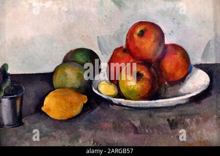 Stillleben mit Äpfeln, 1890, Paul Cezanne, staatliches Einsiedlermuseum, Sankt Petersburg Russland, Europa. - Stockfoto