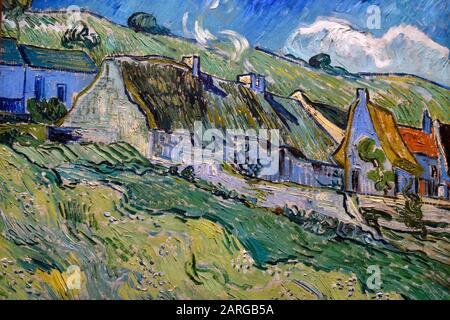 Chaumières à Auvers sur oise, Strohhäuser, 1890, Öl auf Leinwand, Gemälde von Vincent Van Gogh, Museum der staatlichen Einsiedelei, Sankt Petersburg Russland, Europa. - Stockfoto