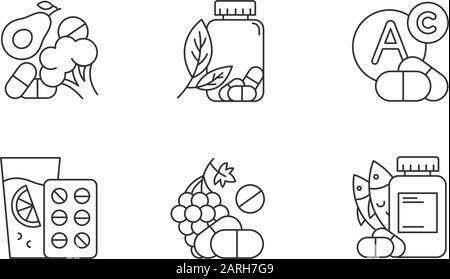 Lineare Symbole für die Vitaminaufnahme festgelegt. Gemüse und Obst für das Gesundheitswesen. Pharmazeutische Hilfe. Kontursymbole mit dünnen Linien. Isolierte Vektoren umreißen illusionstra - Stockfoto