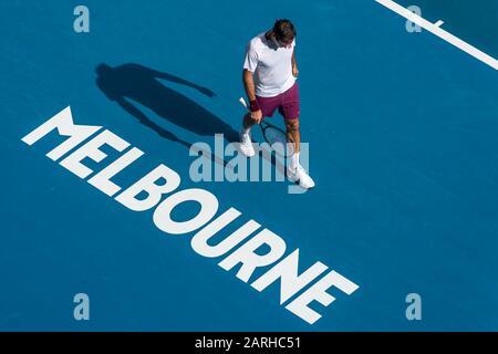 "Melbourne, Australien. Januar 2020. Roger Federer aus der Schweiz beim Match ""Australian Open Tennis Championship Day 9"" 2020 im Melbourne Park Tennis Center, Melbourne, Australien. Januar 2020. ( © Andy Cheung/ArcK Images/arckimages.com/UK Tennis Magazine/International Sports Fotos) Credit: Roger Parker/Alamy Live News - Stockfoto"