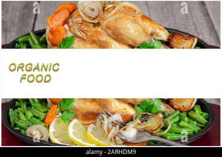 Gebackener gebratener Hühnerkadaver mit Gemüse auf weißem Hintergrund - Stockfoto