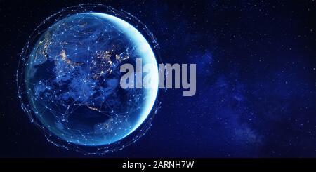 Vernetztes Netzwerk um den Planeten Erde aus dem All für das globale Kommunikationstechnologiekonzept in Asien als Internet der Dinge, mobiles Web, Fintech-Blockc