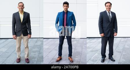 Collage von drei persischen Geschäftsleuten im Anzug mit verschiedenen Altersgruppen in den Straßen der Stadt im Freien - Stockfoto