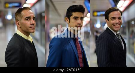 Collage von drei persischen Geschäftsleuten mit verschiedenen Altersgruppen an der U-Bahn-Station, die die Stadt erkundet - Stockfoto