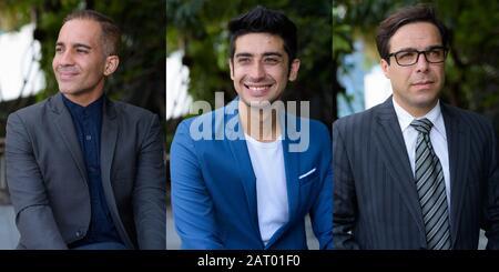 Collage von drei persischen Geschäftsleuten im Anzug mit verschiedenen Altersgruppen in der Stadt im Freien - Stockfoto