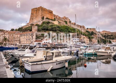 Citadelle, Boote am Jachthafen im Morgengrauen, in Bonifacio, Korsika, Frankreich - Stockfoto