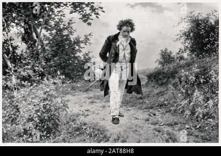 Foto von Ludwig van Beethoven (1770-187) EIN Spaziergang durch das Land, gedruckt von der Berliner Fotografischen Gesellschaft, nach einem Gemälde von Julius Schmidt, ca. 1910 - Stockfoto