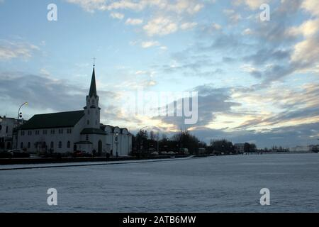 Reykjavik Frozen Lake - Stockfoto
