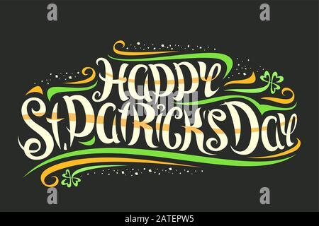 Vektor-Grußkarte für St. Patrick's Day, dekorative Einladung mit geschweiften Kalligraphischen Schrift und Design blüht, kreativ wirbelnde Schrift für Wor - Stockfoto