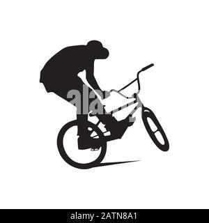 BMX-Fahrer springt und führt den Trick aus. Der Hintergrund kann in einen anderen geändert werden. Vektorgrafiken - Stockfoto