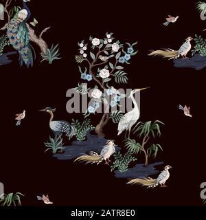 Nahtloses Muster im chinoiserie-Stil mit Störchen, Vögeln und Ponys. Vektor, - Stockfoto