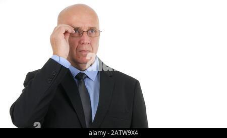 Selbstbewusster Geschäftsmann Bild Mit Anzug und Brille in einem Business Meeting - Stockfoto