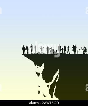 Konzeptbild einer vielfältigen Gruppe von Menschen, die auf einer zerfallenden Klippe stehen, die ihrer Situation nicht bewusst ist - Stockfoto