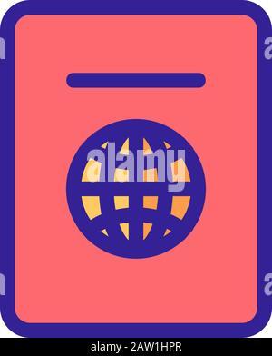 Reisepass Symbol Vektor. Isolierte Kontur symbol Abbildung - Stockfoto