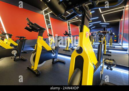 Aerobic Spinning Indoor-Bikes Klasse - Stockfoto