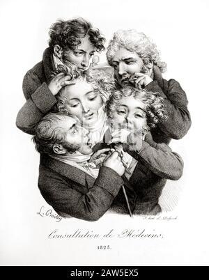 """1823 , FRANKREICH: Französische Satyrikkarikatur von Louis Léopold BOILLY (* 1761 in Paris; † um 1844 in Paris) mit dem Titel """"Consultation de Médecins"""" ( Anhörung Der Ärzte ) - Stockfoto"""