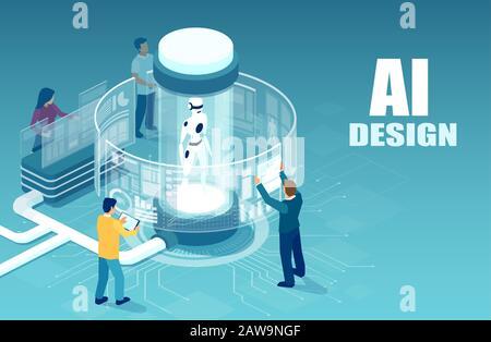 Vektor der Softwareingenieure, die mit einem Roboter arbeiten, der virtuelle Schnittstellen in erweiterter Realität verwendet. - Stockfoto