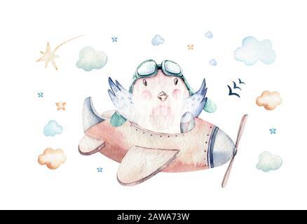 Aquarell Hintergrundfarbe festlegen Abbildung: eine niedliche und ausgefallenen Sky-Szene komplett mit Flugzeugen, Helikoptern und Ballonen, Wolken. Junge Muster. Es ist ein ba - Stockfoto