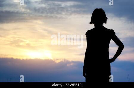 Silhouette eines Mädchens. Element des Designs. - Stockfoto