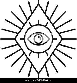Magische Ikone der Rombischen Augen. Umreißen Sie das Symbol für den magischen Augen-Vektorgrafiken für Webdesign, das auf weißem Hintergrund isoliert ist - Stockfoto