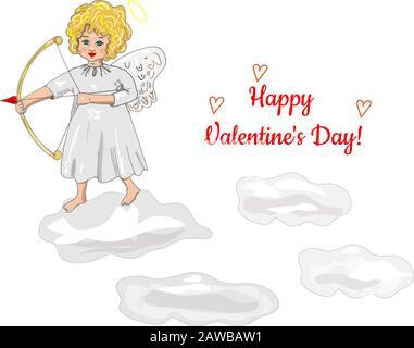 Cupid mit Pfeilen Post Card Happy Valentine's Day. Cupid in den Wolken Vektor Doodles Stockfoto