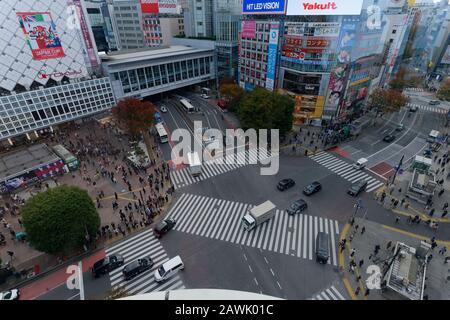 Tokio, Japan: 20. November 2019: Shibuya Crossing in Tokio, Japan. - Stockfoto