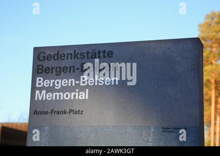 Anne-Frank-Platz, KZ-Gedenkstätte Bergen-Belsen, Niedersachsen, Deutschland, Europa - Stockfoto