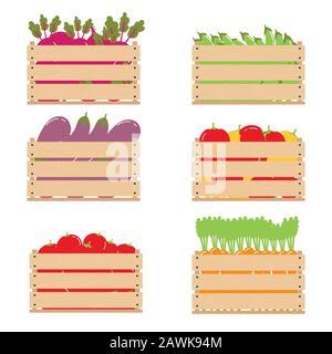Gemüse in einer Holzkiste. Holzkisten mit Gemüse für eine gesunde Ernährung, gute Ernährung. - Stockfoto