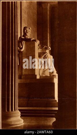 Statuen des Abraham Lincoln Memorial . X. & V. Foto DER GROSSE EMANCIPATOR Diese markante Ansicht der Statue des großen Emanzipators, ein auffälliges Merkmal der Gedenkstätte Lincoln in Washington, D. C, hat diese Woche besondere Bedeutung, als das Land erneut den Geburtstagsjubiläum seines bürgerkriegsvorsitzenden beobachtet. Washington Memorial nach Lincoln. LINCOLN MEMORIAL. Blick durch die Säulen des Lincoln Me- morial in Washington, das die Mekka des patriotischen Pilgers < sein wird? <am nächsten Samstag zu Ehren des 118. Jahrestages der Geburt der großen Märtyrer.f ~tl * . ________^ - Stockfoto